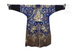 A blue silk court robe, Jifu, 19th century.