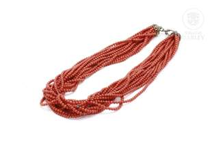 Elegant coral and silver beads necklace.