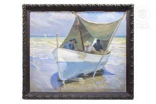 """Alfredo García Gil (1885-?) """"Beach scene"""", ca 1920."""