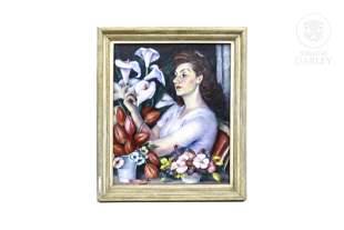 """Pedro de Valencia (1902-1971) """"Portrait with flowers"""""""