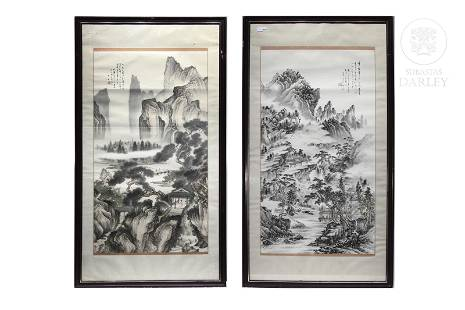 Pair of large paintings, China, 20th century