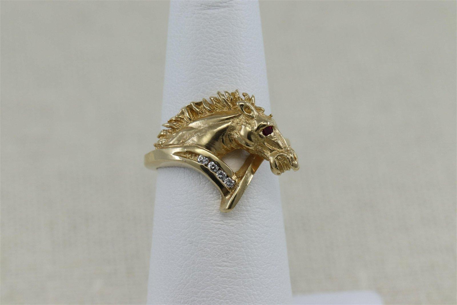 14K Yellow Gold Diamond Horse Ring
