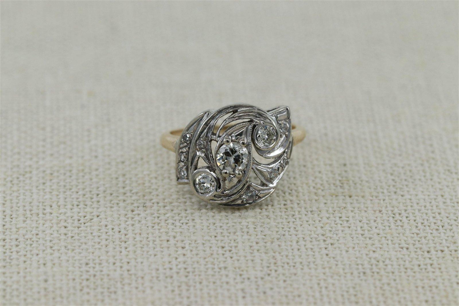 14Kt Art Deco Diamond Ring