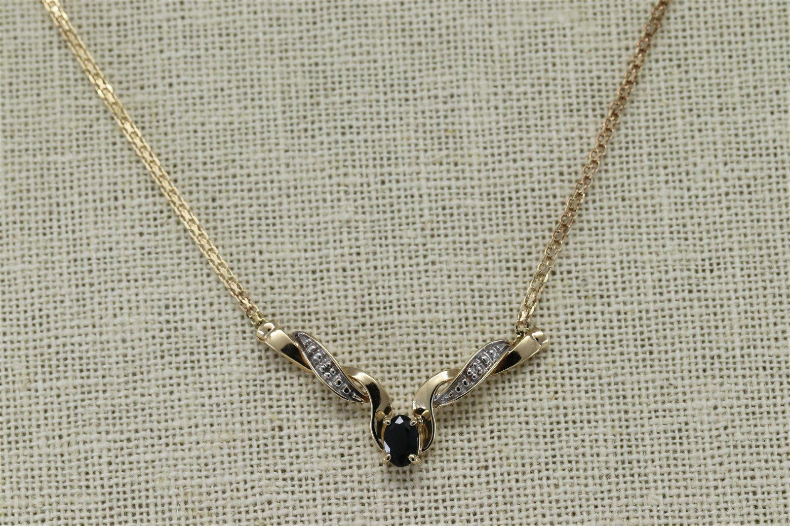 Ladies Diamond Neckalce w/ Oval Shape Blue Sapphire