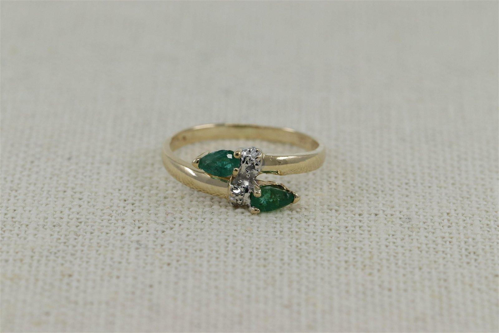 14Kt Diamond/ Emerald Ring