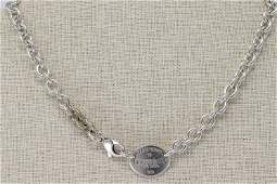 Please Return To Tiffany  Co Sterling Silver Oval Tag