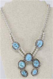 925 Silver Navajo Squashes Blossoms Turquoise Necklace.