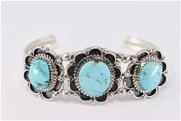Navajo Sterling silver Turquoise Cuff Bangle Rita