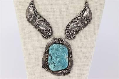 Vintage Sterling Silver Navajo Turquoise Signed D.