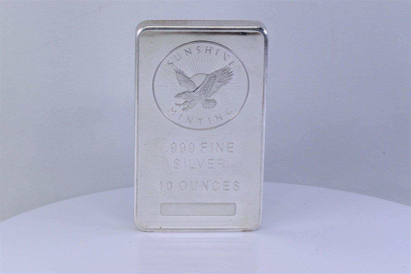 10 Oz Silver Bar - Sunshine Mint .999 Fine Silver Bar
