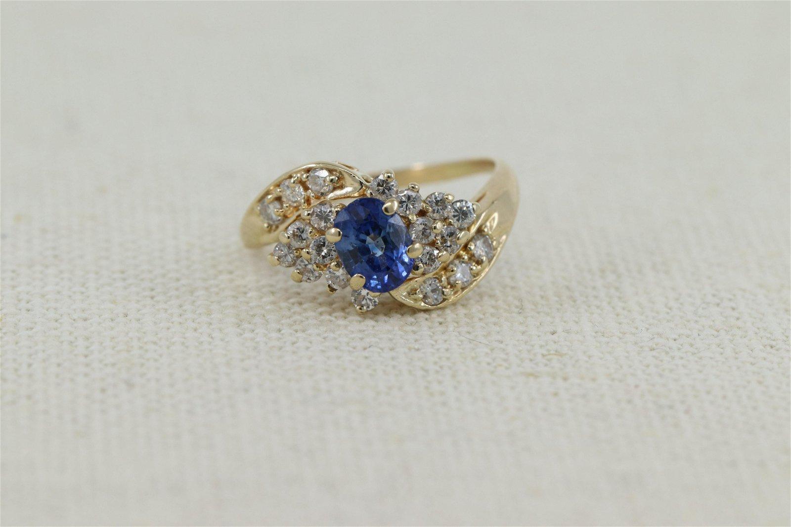 14Kt Sapphire Ring w/ Round Brilliant Diamonds