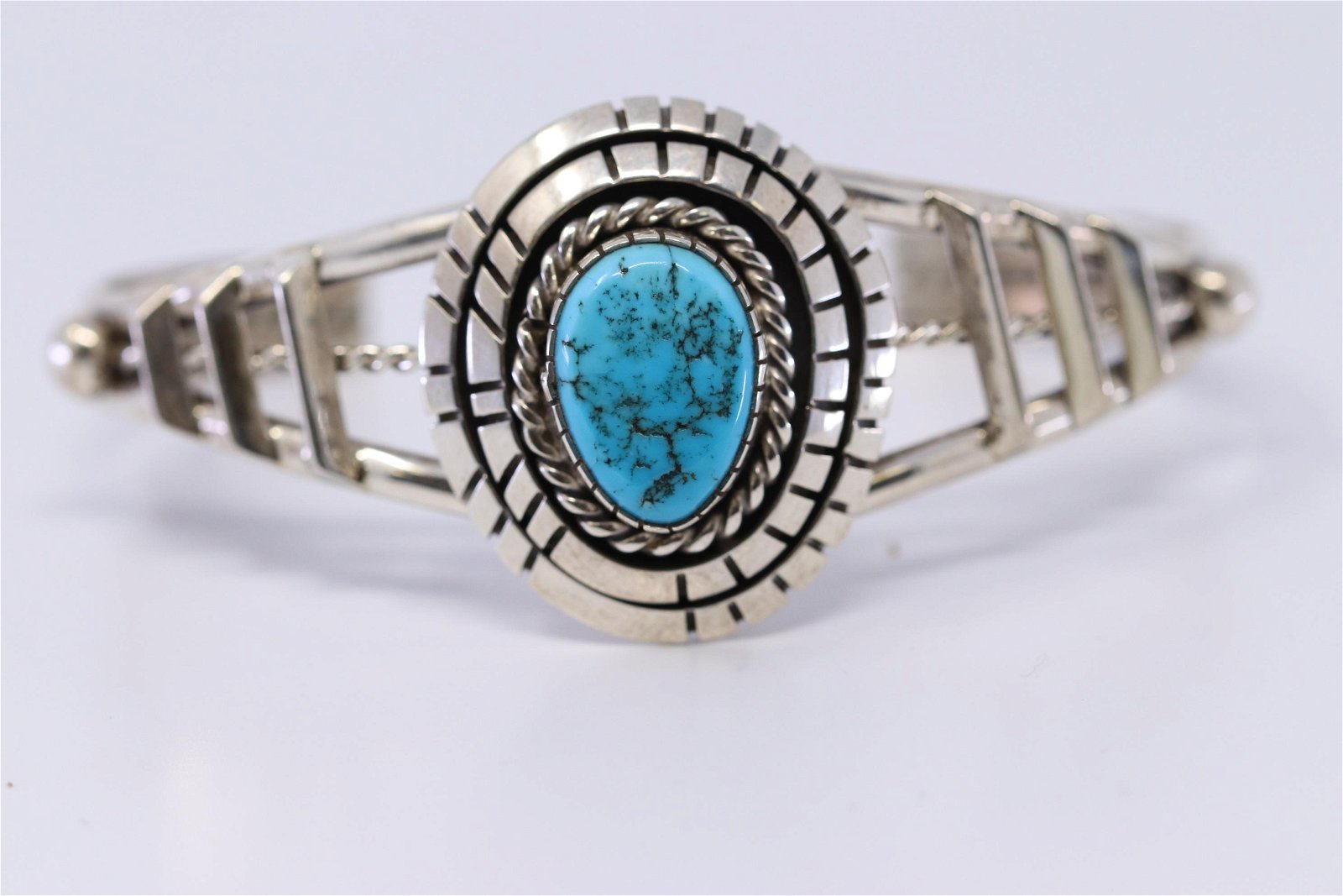 Native American Navajo Sterling Silver Turquoise Cuff