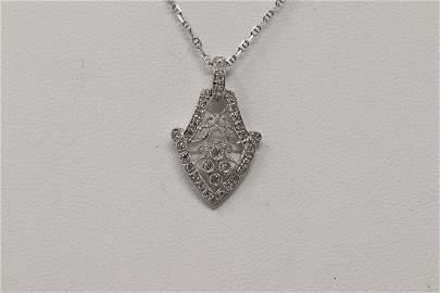 14Kt Art Deco Diamond Pendant