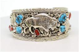 Native American Navajo Handmade Sterling Silver Buffalo