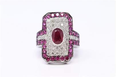 Beautiful 14K White Gold with Diamonds & Rubys