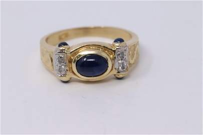 14K Gold Cabochon Sapphire and Diamond Accent Ladies