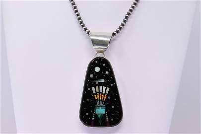 Native American Navajo Sterling Silver Multi-Color