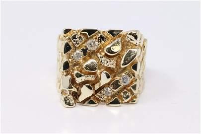 14KT Men's Nugget Diamond Ring