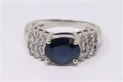 Ladies 14k White Gold Sapphire & Diamond Ring