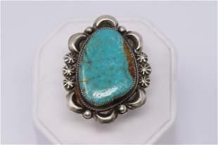 Navajo Handmade Kingman Turquoise Ring Set In Sterling