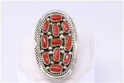 Native Navajo Handmade Sterling Silver Coral Ring By