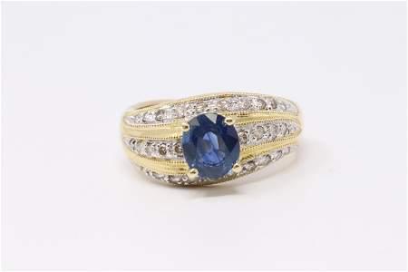 18Kt Sr: Lanka Sapphire Diamond Ring .