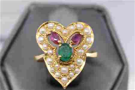 21Kt Yellow Gold Emerald-Ruby-Pearl Ring
