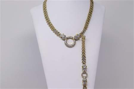 Panther 14k Gold Bracelet and Necklace Set with
