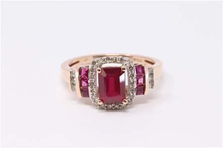 14KT Diamond Ruby Ring