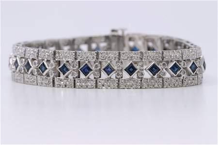 Vintage Design  Ladies 14K sapphire and Diamond accent