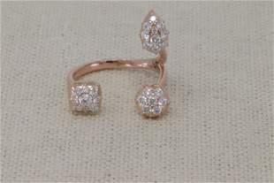 14KT Rose Gold Diamond Modern Ring