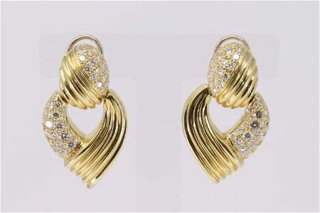 18KT Diamond Post Dangle Earrings