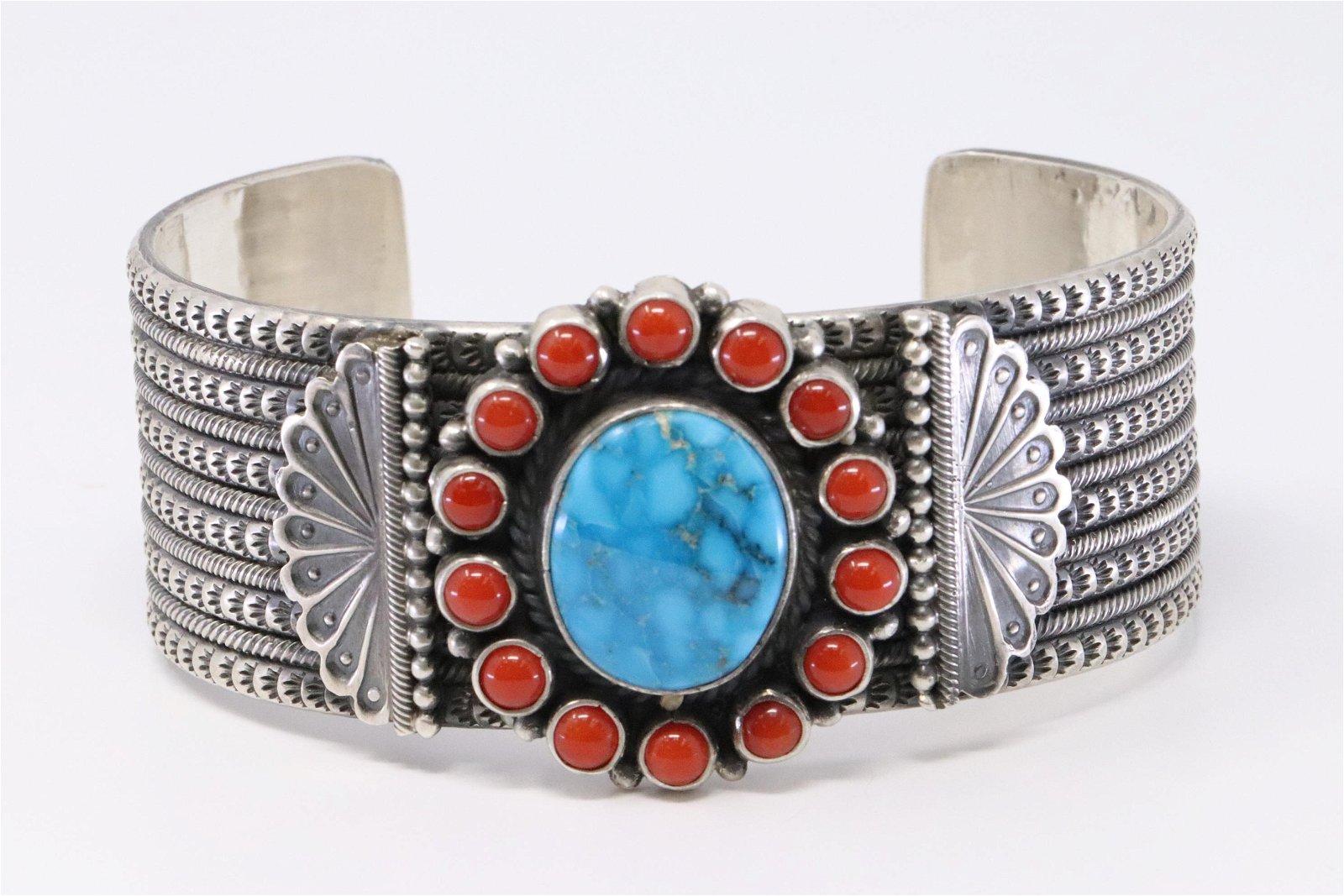 Handmade Native American Navajo Sterling Silver Coral Bracelet