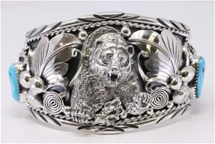 Native American Navajo Sterling Silver Turquoise Bear