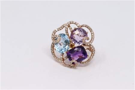 Ladies 14k Yellow Gold Multi Color Gems, and Diamond