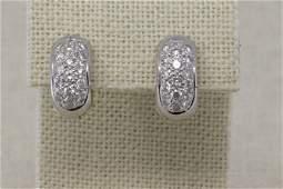 18Kt 2 Tone Diamond Hoop Earrings