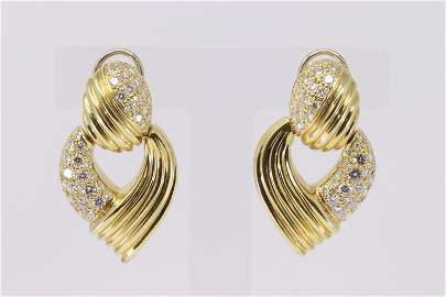 18KT Diamond Post Dangle Earrings