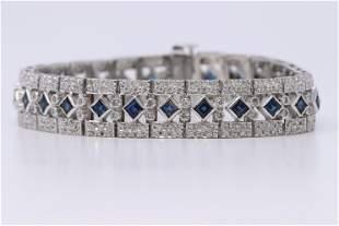 Art Deco  Ladies 14K sapphire and Diamond accent