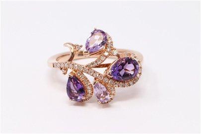 14KT Diamond Amethyst Ring.