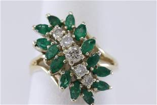 14Kt Ladies Diamond Ring w/ Maquise Shape Emeralds