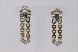 Vintage 14K yellow Gold Cabochon Sapphire & Diamond