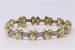 Ladies Two Tone 14K Gold & Diamond  Bracelet