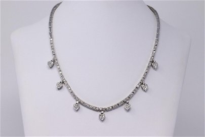 14KT Diamond Heart Drops Necklace