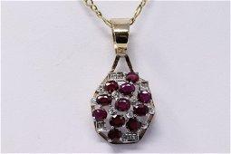 14Kt Vintage Ruby & Diamond Pendant.