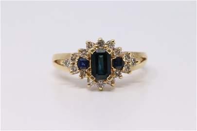 14Kt Yellow Gold Sapphire / Diamond Ring.