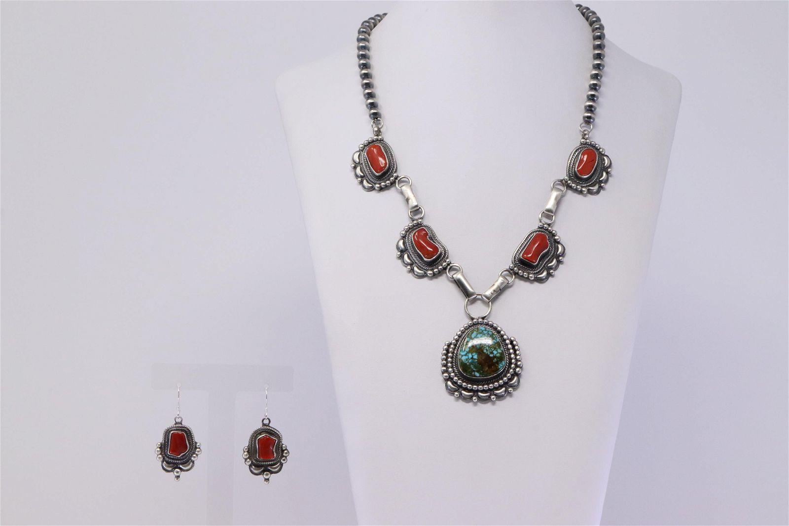Native America Navajo Handmade Sterling Silver Coral &