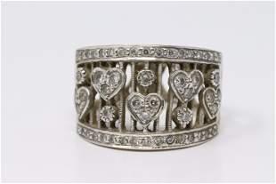 14K White Gold Diamond Heart Design Ring