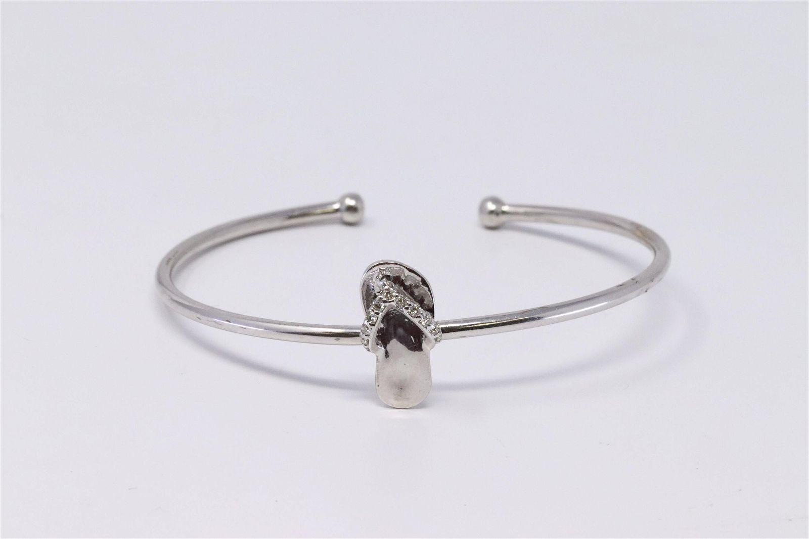 Ladies 14K White Gold Diamond Cuff Bracelet