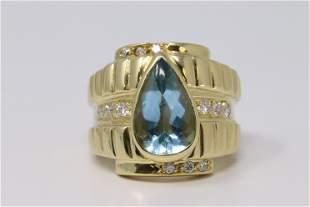 Aquamarine 14k Yellow Gold & Diamond Accent Ladies Ring