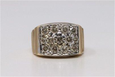 14Kt Men's Yellow Gold Diamond Ring.